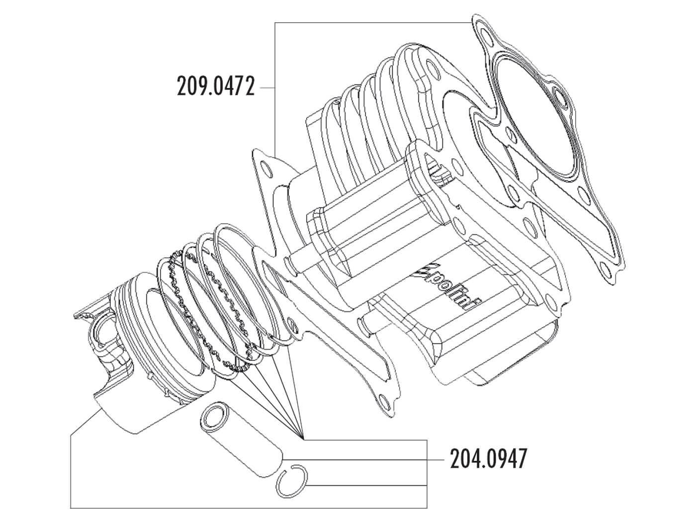 cylinder kit Polini aluminum sport 221cc 69mm for LML Star