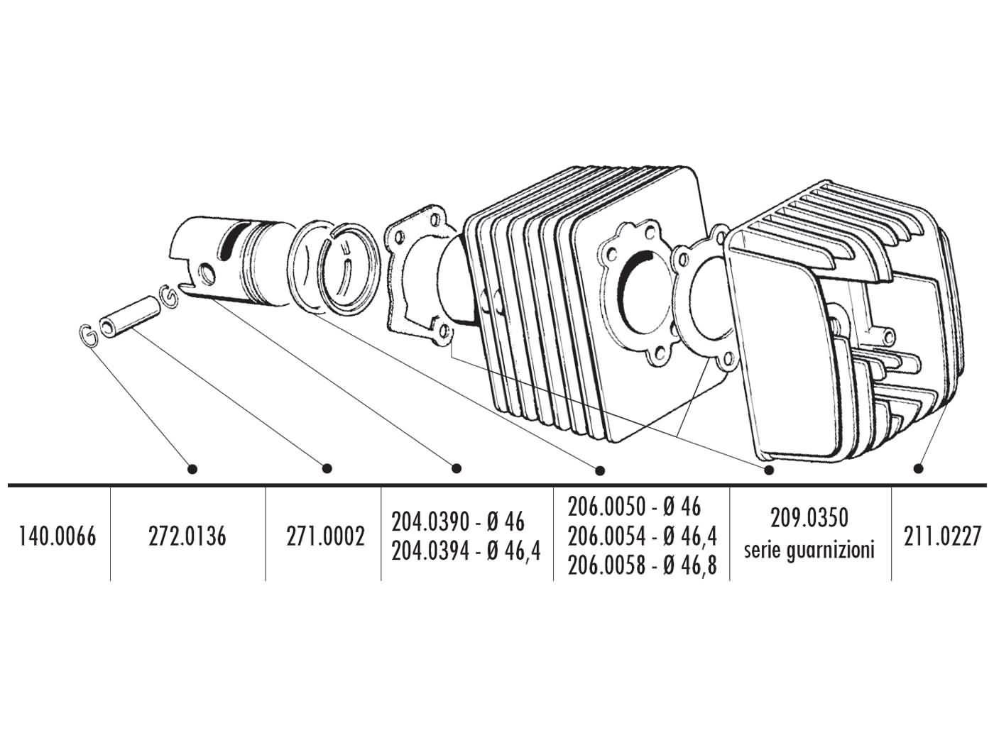 cylinder kit Polini cast iron sport 70cc 12mm piston pin