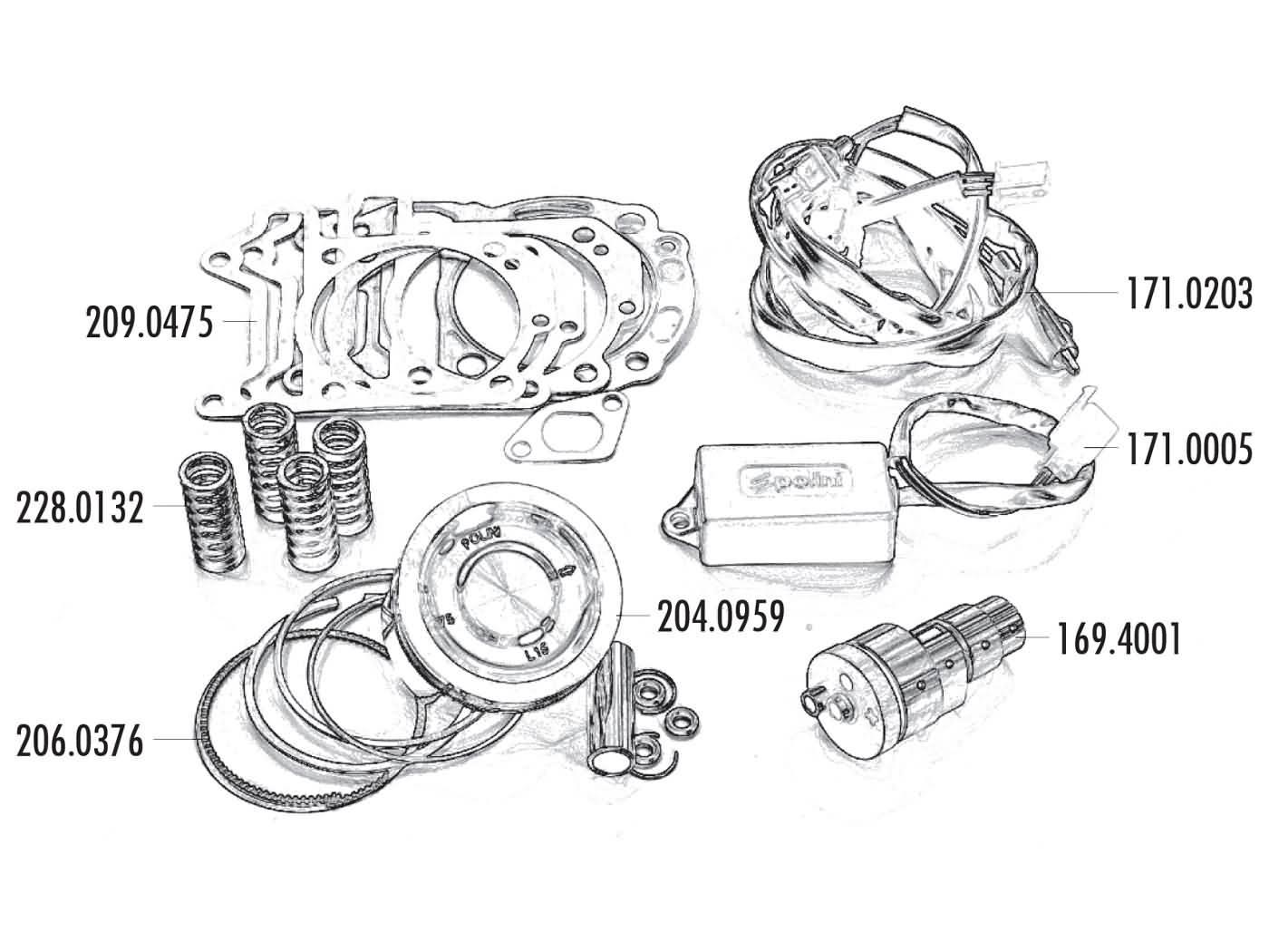 power kit Polini 75mm for Vespa GTS, GTV, Piaggio MP3