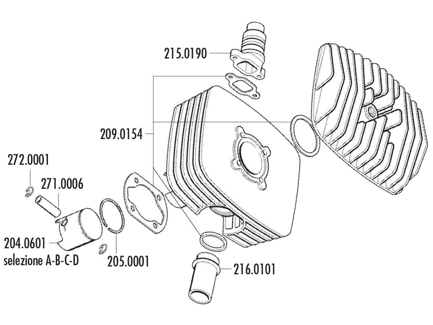 cylinder kit Polini 80cc Series 6000 48mm for Zündapp