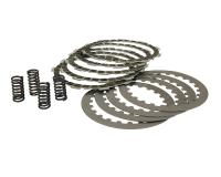 clutch plate / disc set HF , cork and steel plates incl. springs for Minarelli AM, Generic, KSR-Moto, Keeway, Motobi, Ride, 1E40MA, 1E40MB