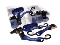 tie down kit with 6 tie-downs / tie down straps and storage box