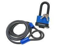 steel security cable looped Silverline incl. padlock 1.8m x 8mm