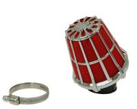 air filter Malossi red filter E5 racing grid 38mm carb connection red filter, chrome latticed housing