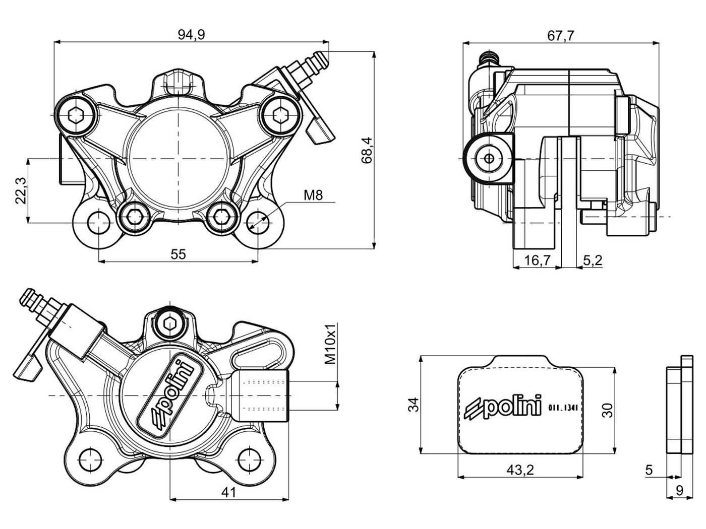 front brake caliper Polini CNC racing for Derbi, Gilera