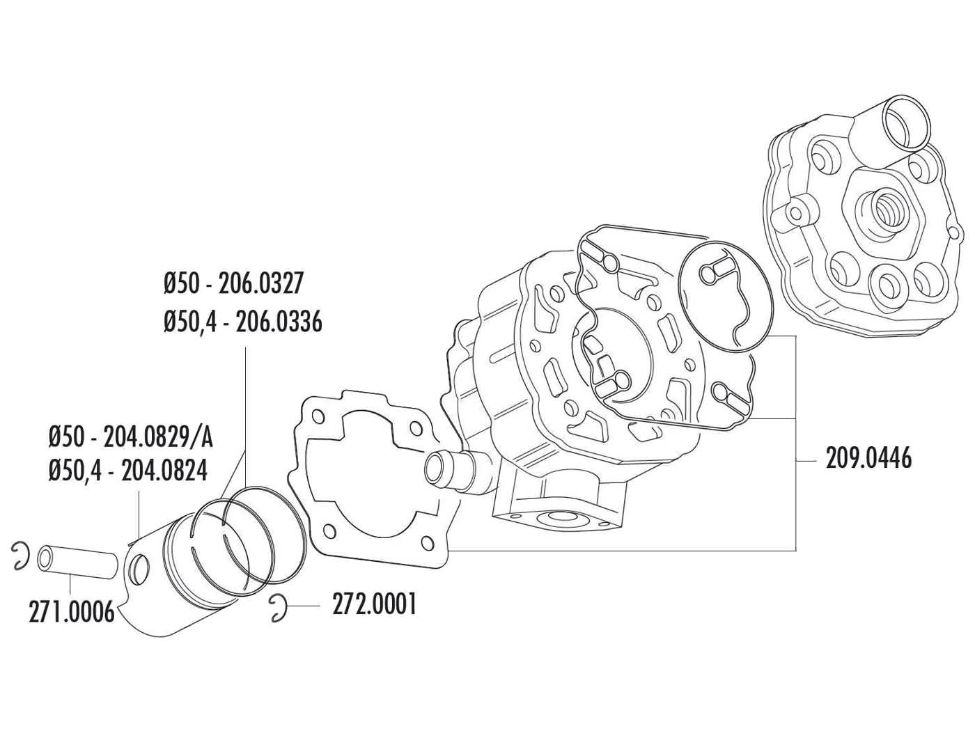 cylinder kit Polini cast iron sport 80cc for Derbi Senda