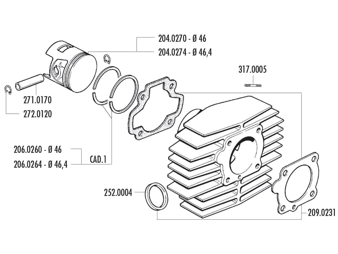 piston ring Polini 46x1.5mm for Minarelli horizontal AC