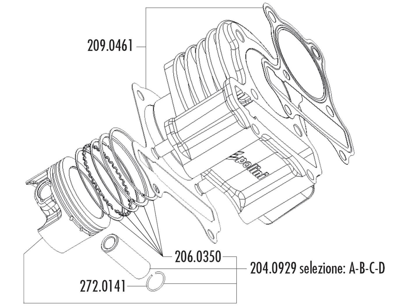 cylinder kit Polini aluminum sport 80cc 50mm for GY6 China