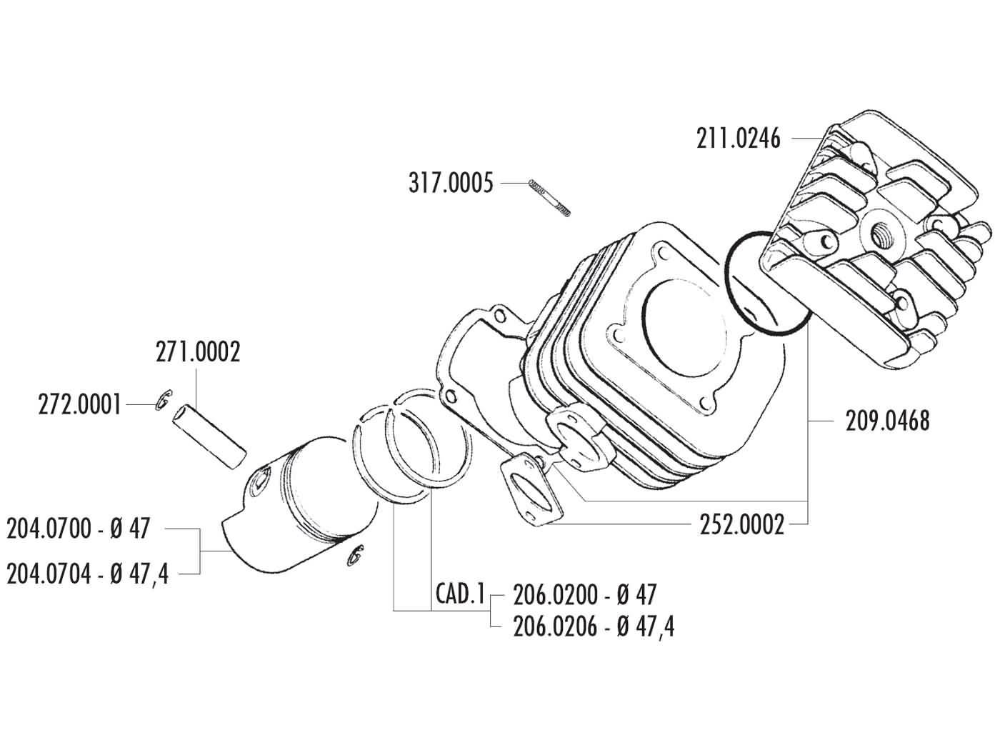 cylinder kit Polini cast iron sport 70cc 47mm for Kymco AC
