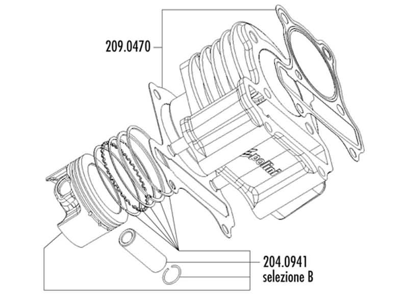 cylinder kit Polini aluminum sport 165cc 60mm for LML 125