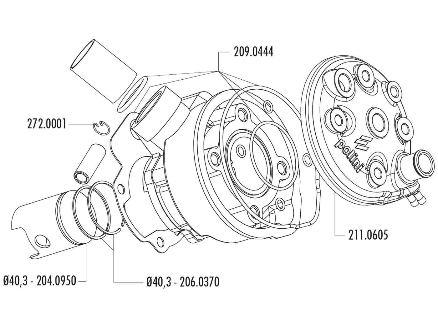 cylinder kit Polini cast iron 50cc 40.3mm for Minarelli