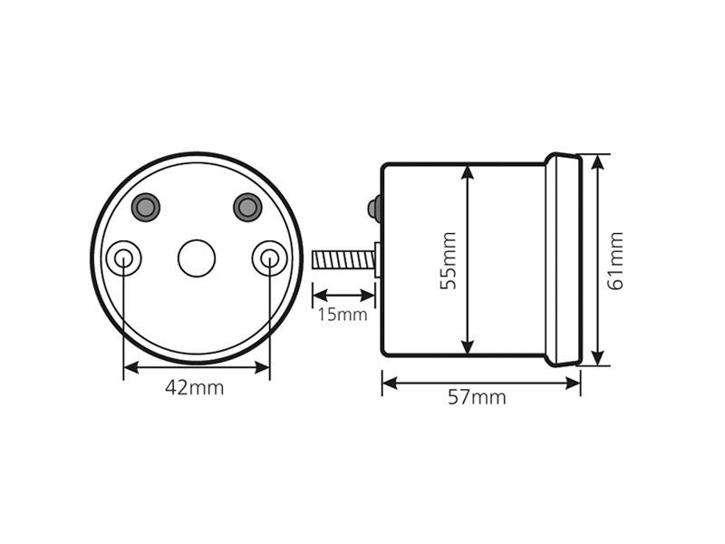 rev counter Koso D55 DL-01R Black LCD max 18000 rpm, 120°C