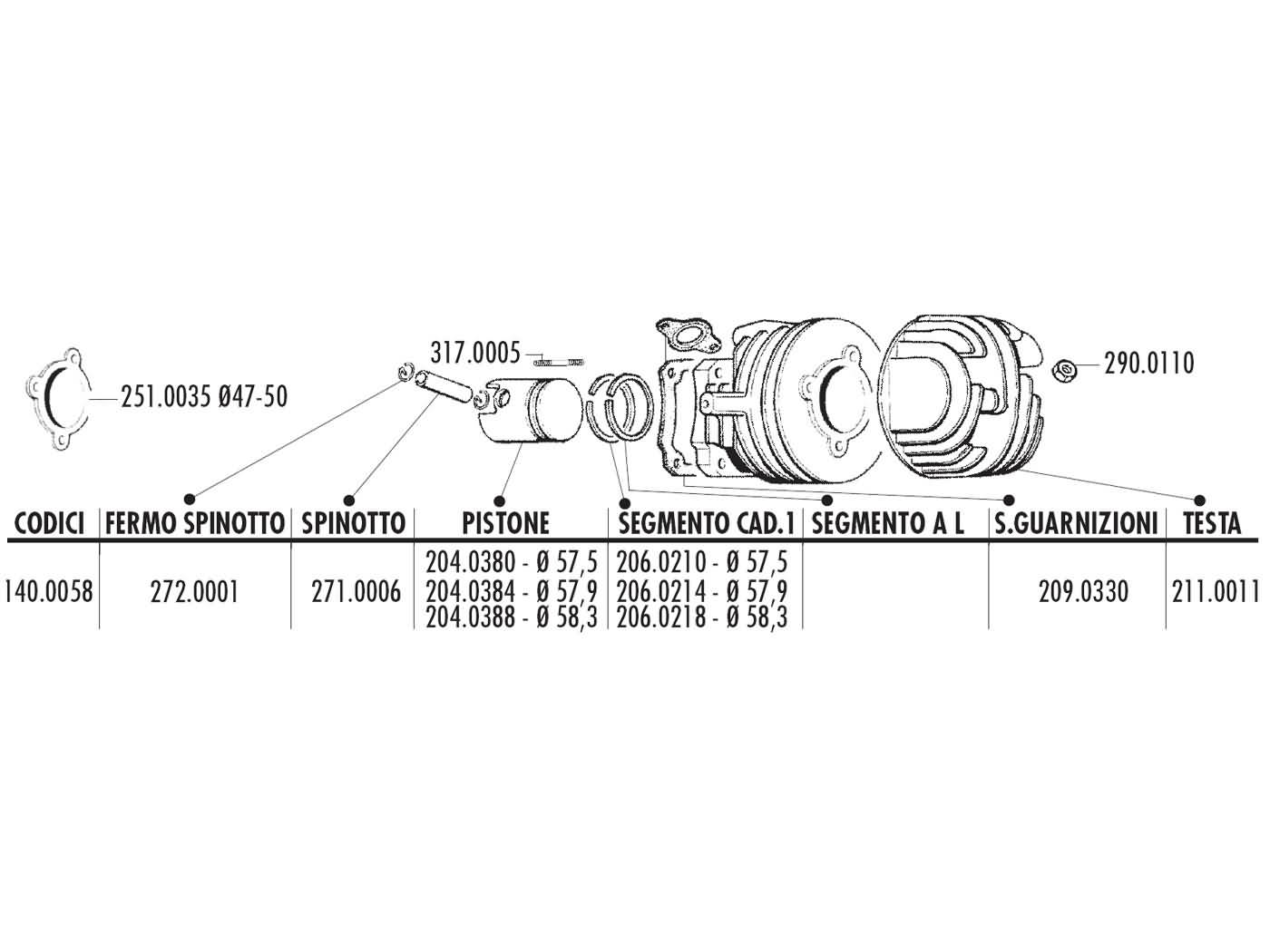 Cylinder Kit Polini Cast Iron Sport 115cc 575mm For Ape 50 Vespa 56 Scooter Wiring Schematic Pk