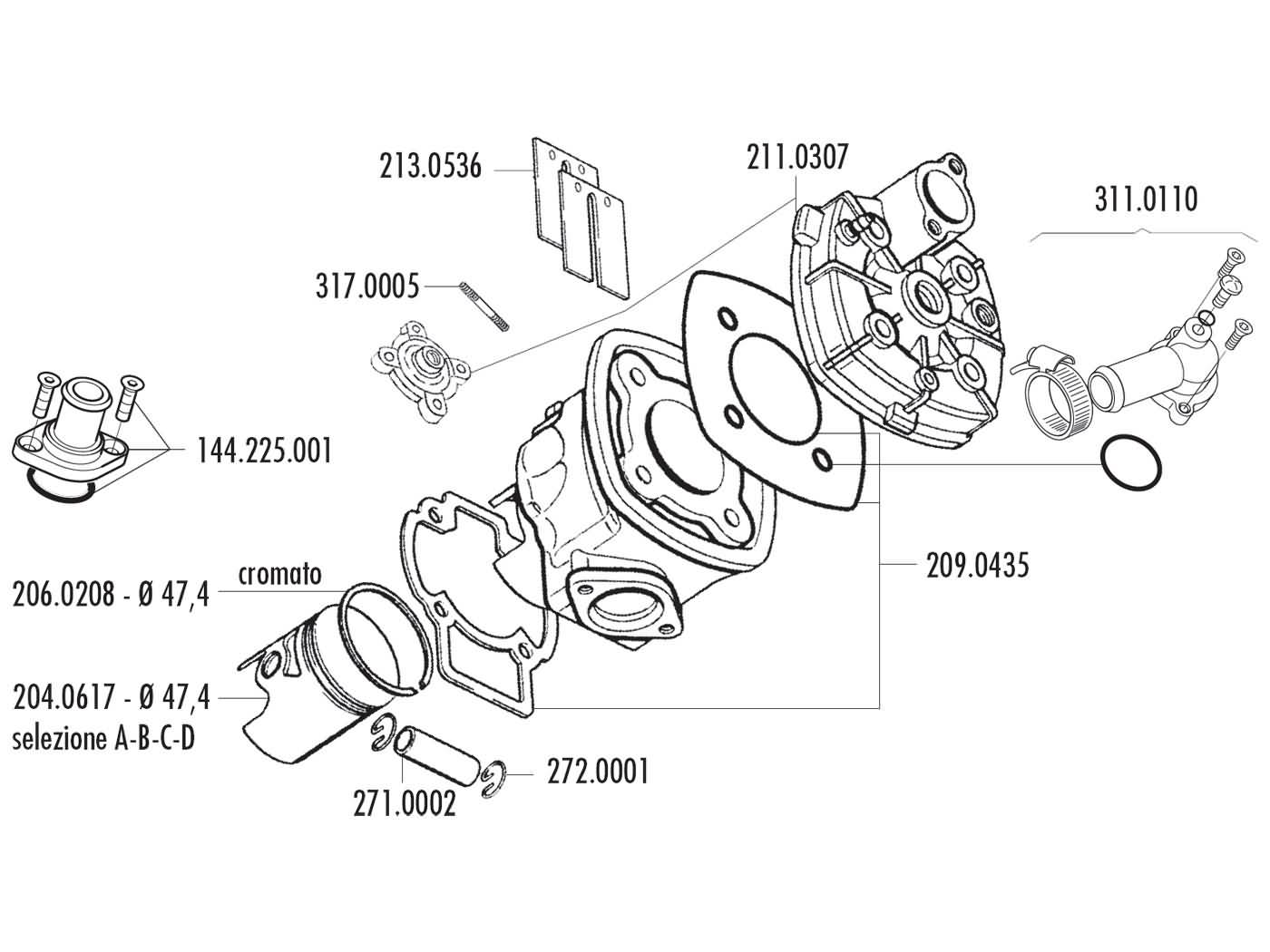 cylinder kit Polini aluminum sport 70cc 47.4mm for Piaggio