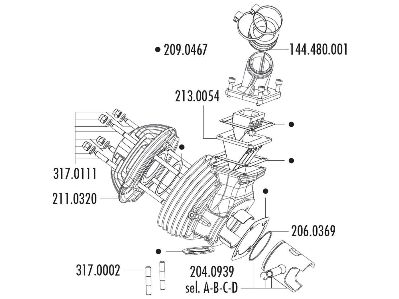 connection rubber Polini 36mm for flat slide carburetor