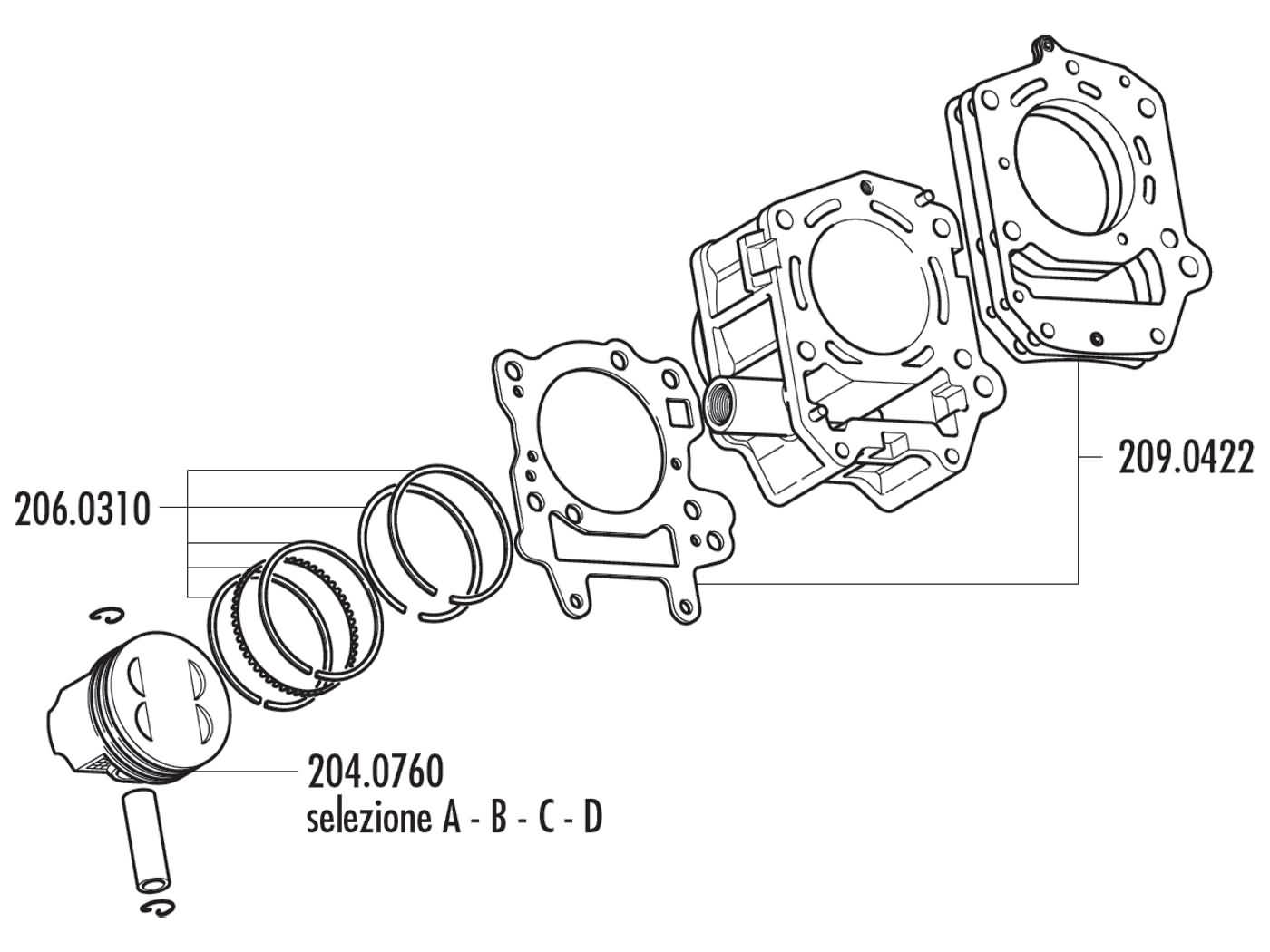 Cylinder Kit Polini Aluminum 180cc For Aprilia Leonardo Scarabeo Engine Diagrams 125 150 Rotax 4t