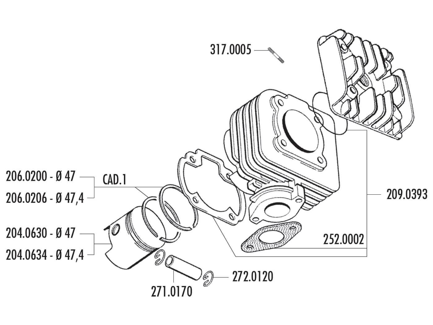 cylinder kit Polini cast iron sport 70cc for Morini AC