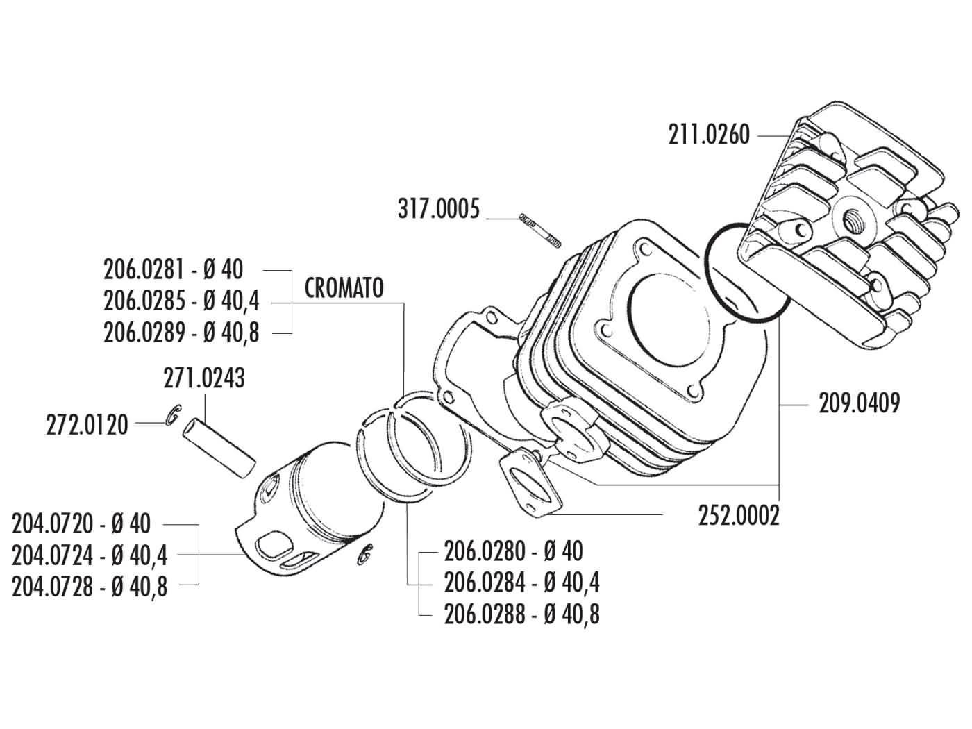 cylinder kit Polini cast iron sport 50cc 10mm piston pin