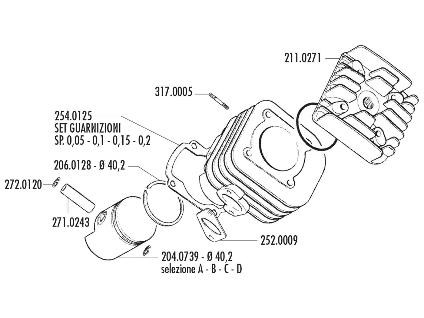 cylinder kit Polini aluminum racing Evolution 50cc 10mm