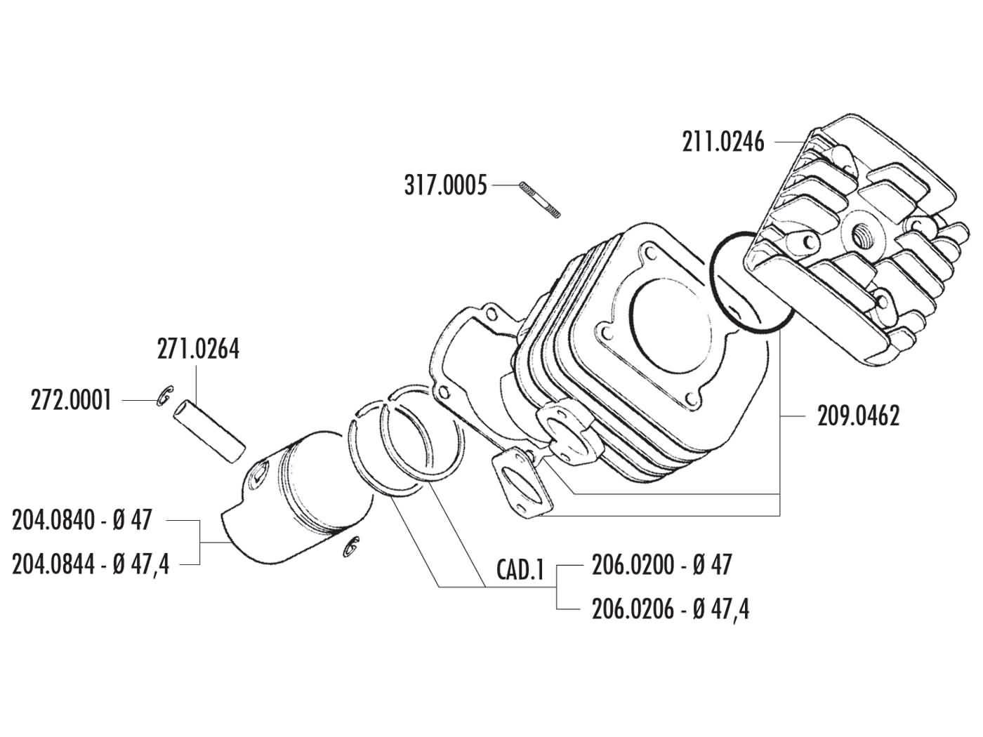 cylinder kit Polini cast iron sport 70cc 12mm for CPI