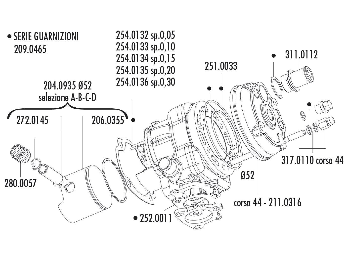 cylinder kit Polini aluminum racing Big Evolution 94cc