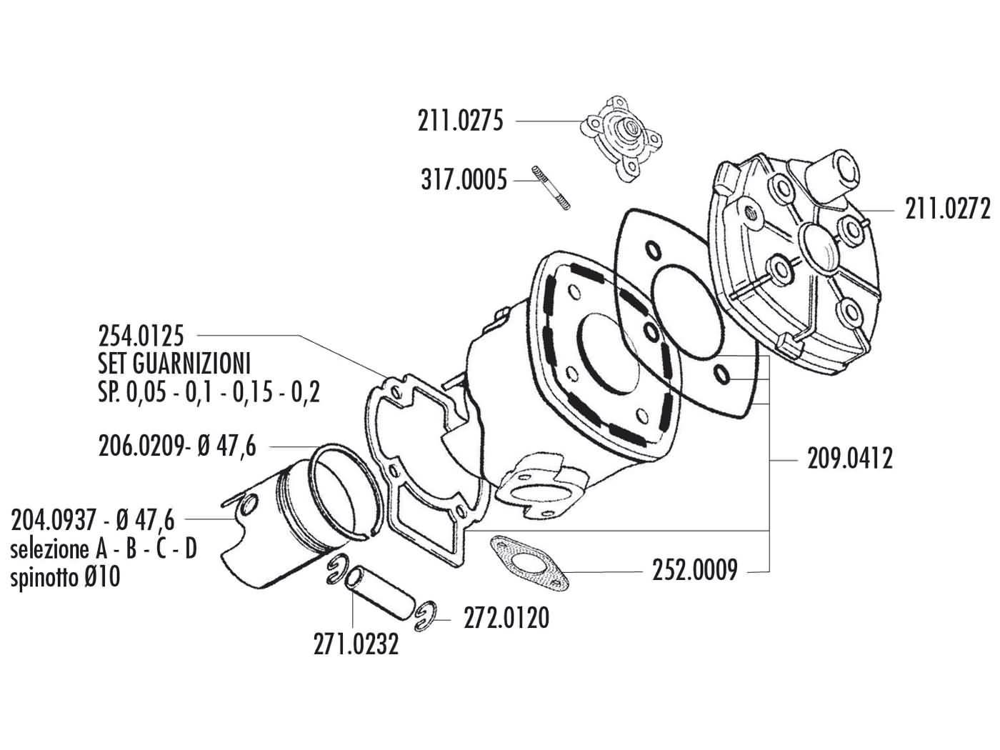 cylinder gasket set Polini racing Evolution 70cc for