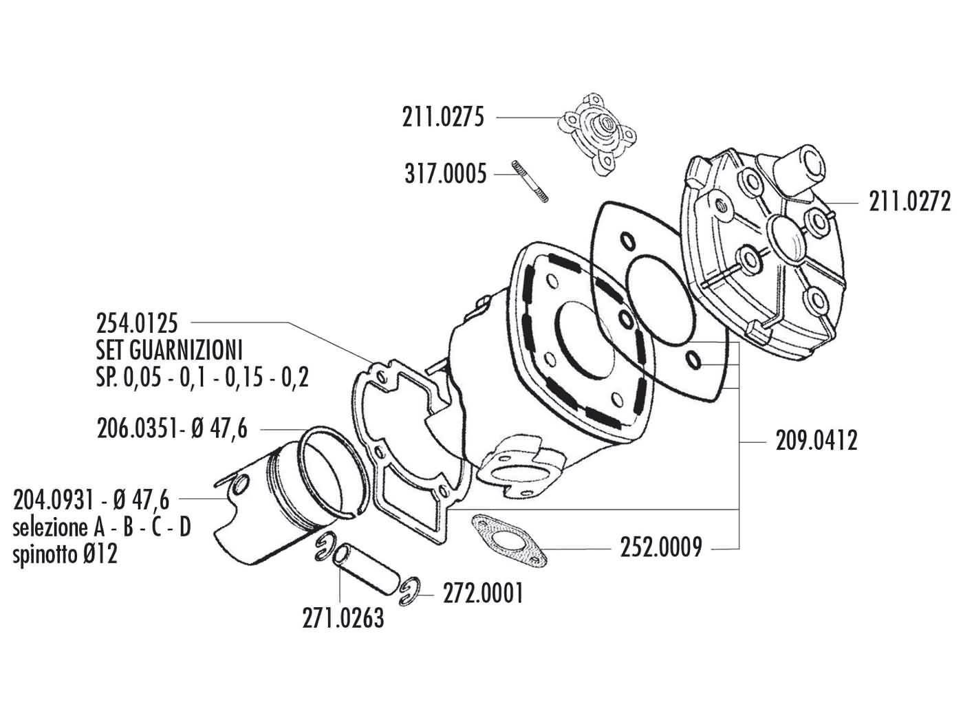 cylinder kit Polini aluminum racing Evolution 70cc 12mm