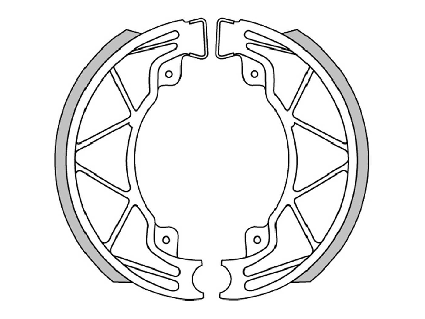 brake shoe set Polini 140x25mm w/ springs for drum brake