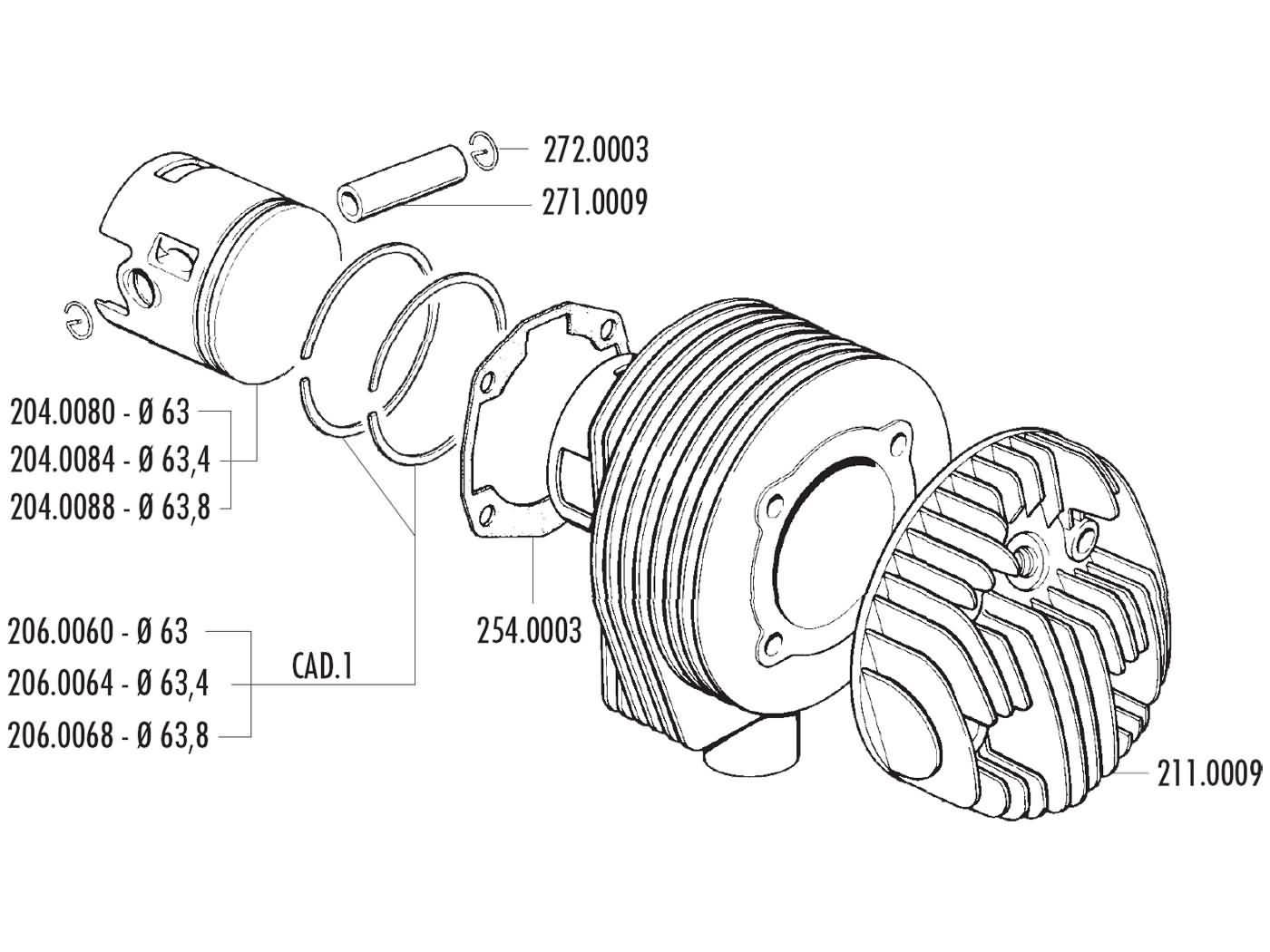piston kit Polini 177cc 63mm for LML Star Deluxe, Vespa PX