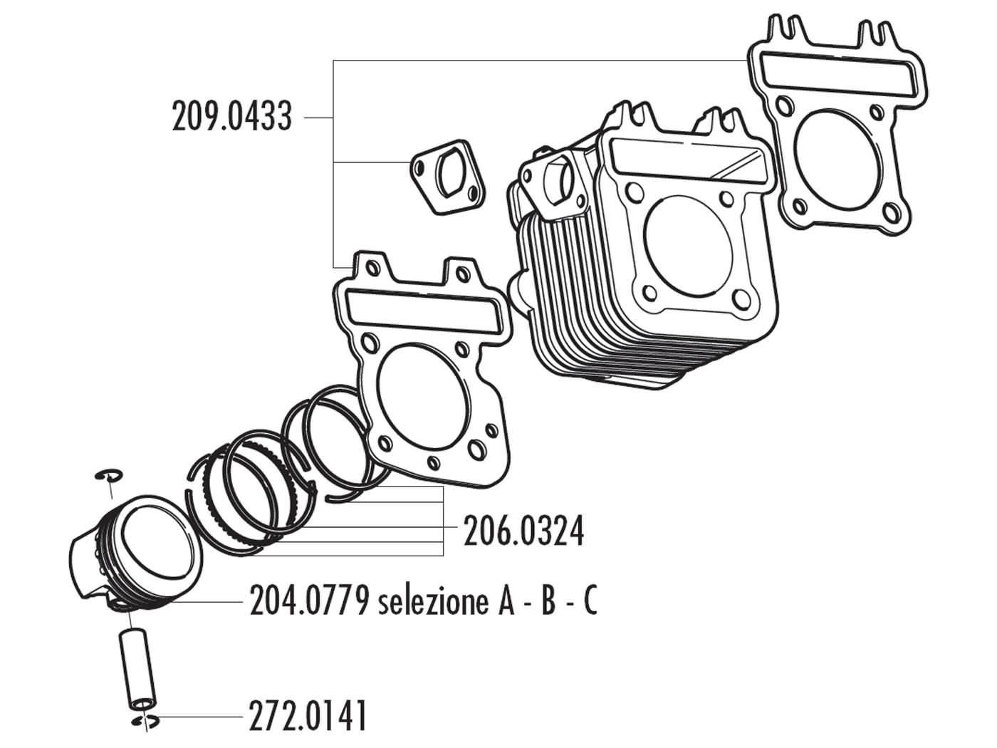 piston kit Polini 79cc 49mm (A) for Piaggio 50 4T 2V