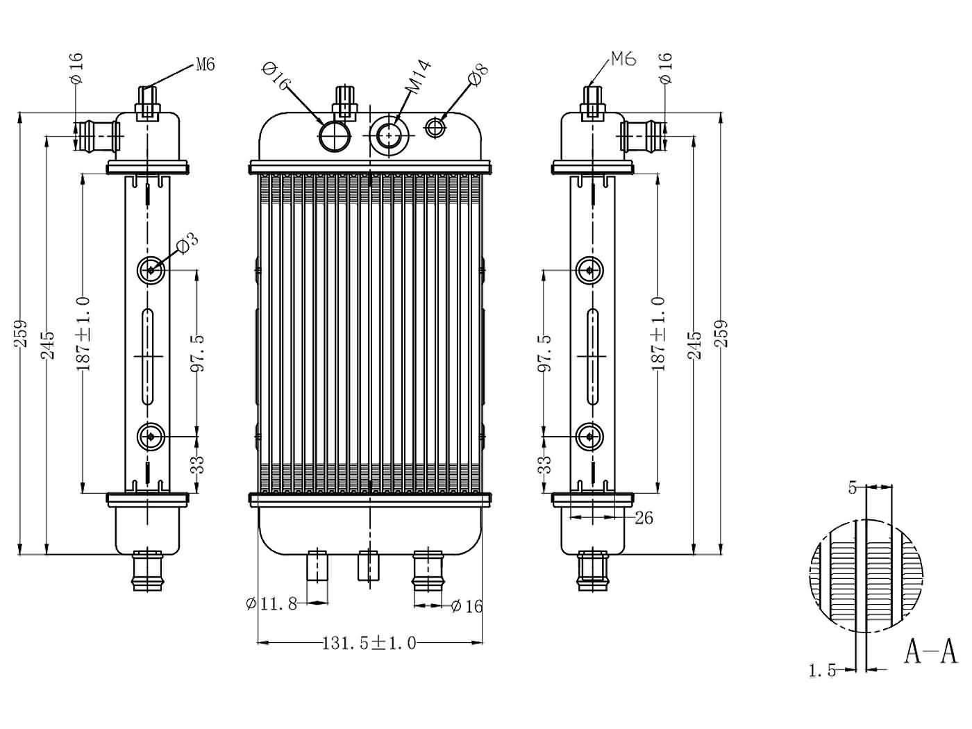 radiator for Derbi Senda 50, Aprilia RX 50, SX 50, Gilera