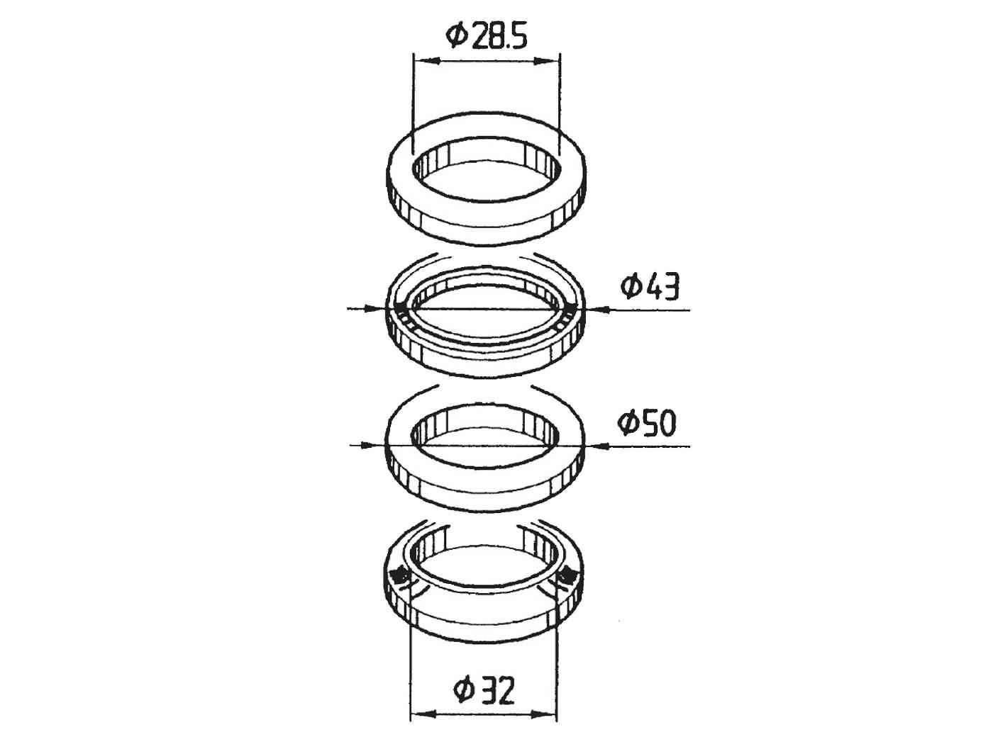 steering bearing set for Aprilia SR 125, 150, Sonic 50