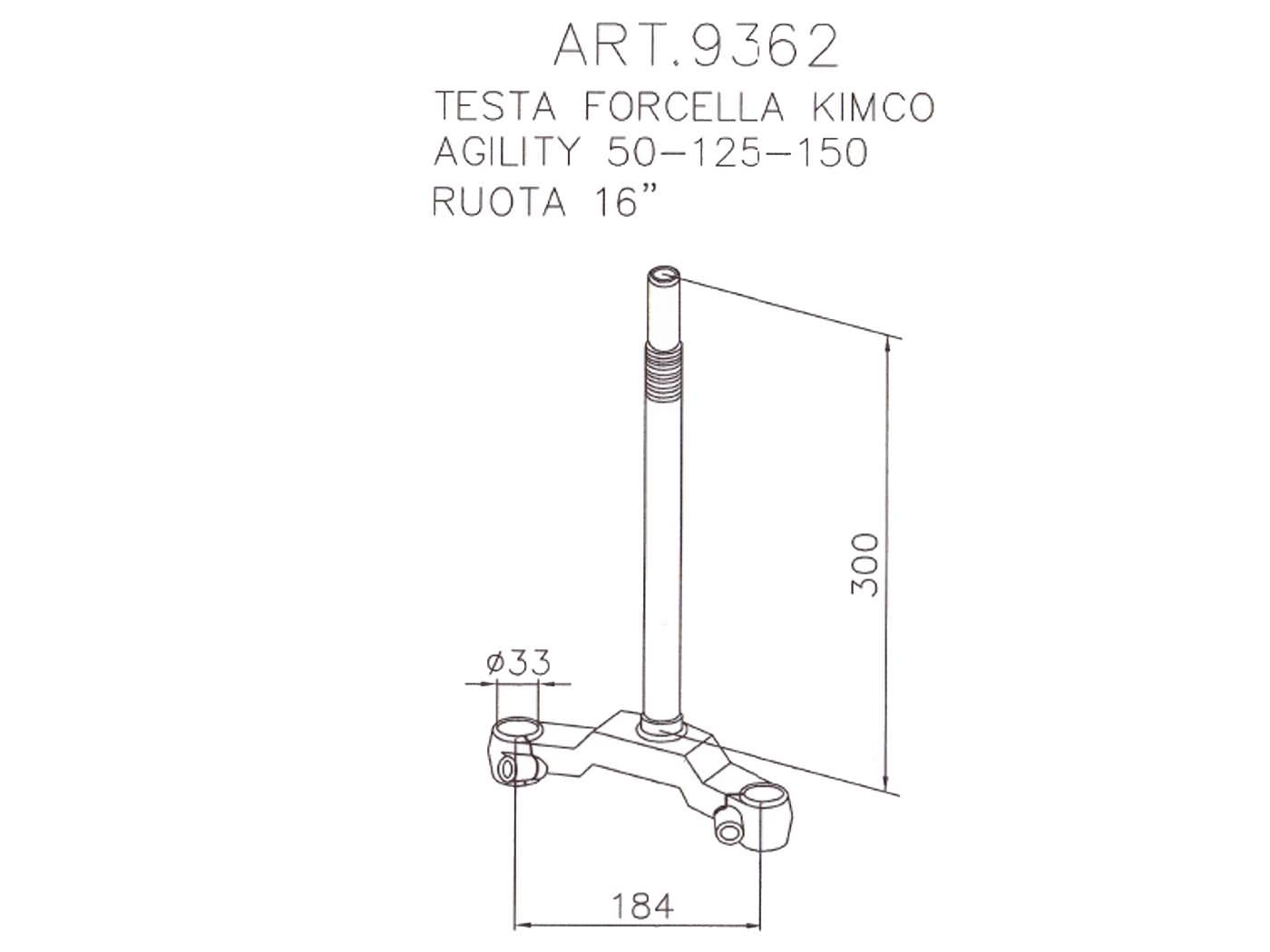 fork yoke / yoke steering stem assy Buzzetti for Kymco