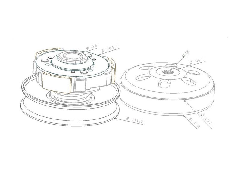 clutch pulley assy with bell for Honda, Kymco, Malaguti