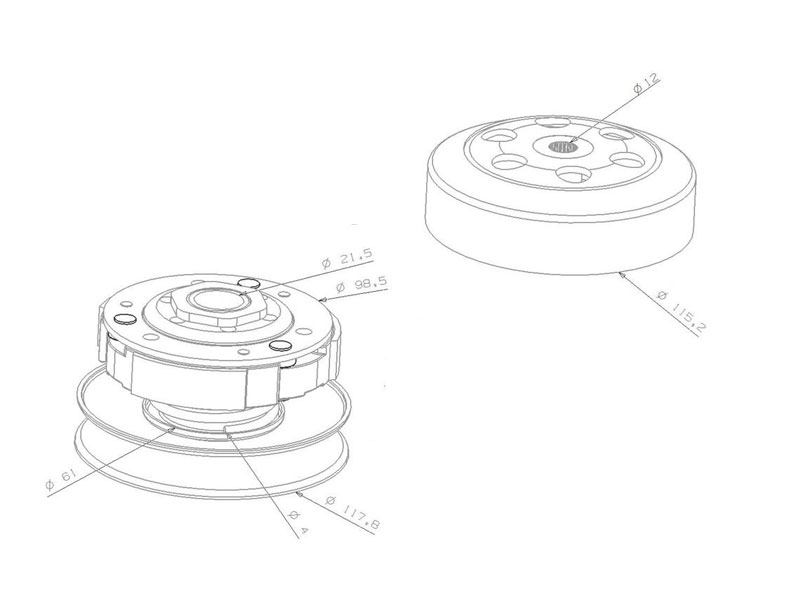clutch pulley assy with bell 107mm for Peugeot, Kymco