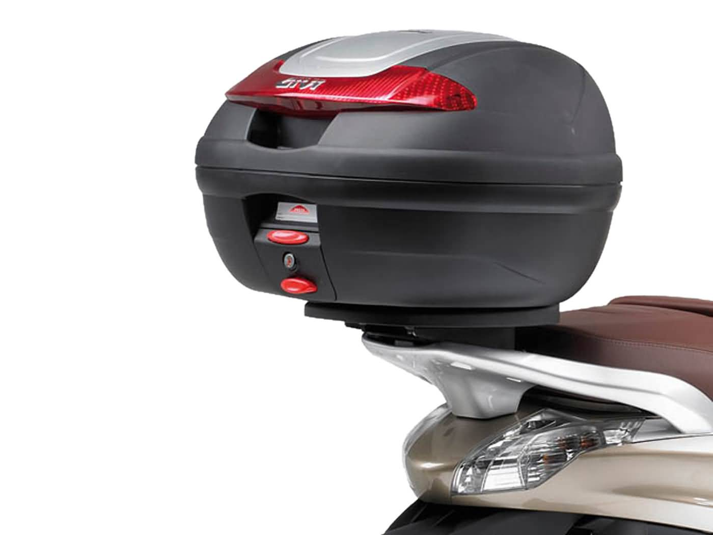 top case givi monolock scooter trunk mounting for piaggio beverly 125 350ie 2010 2014 scooter. Black Bedroom Furniture Sets. Home Design Ideas